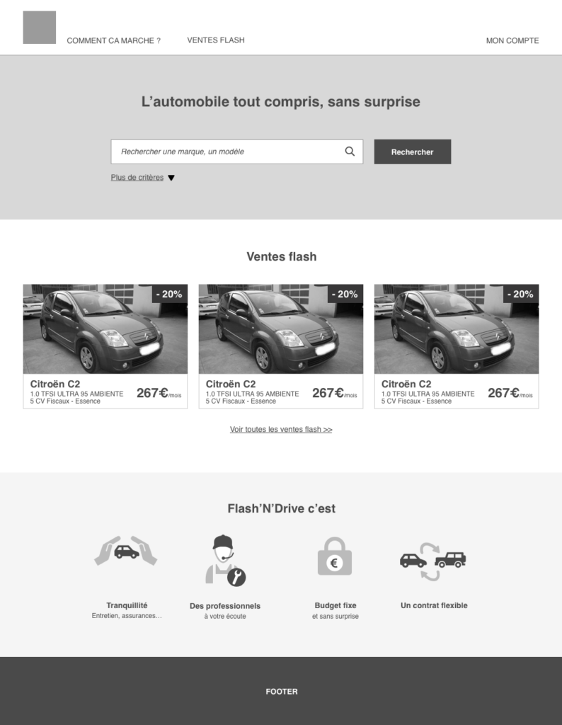 wireframe site web My car Lease Natixis