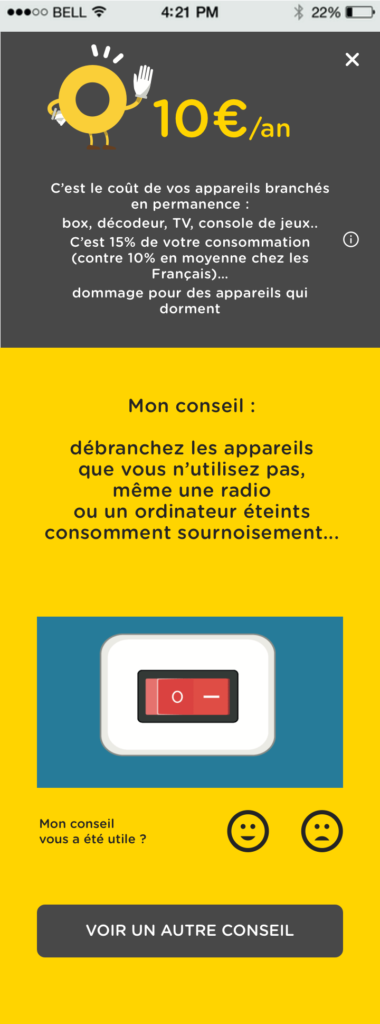 page conseil application mobile Direct Energie
