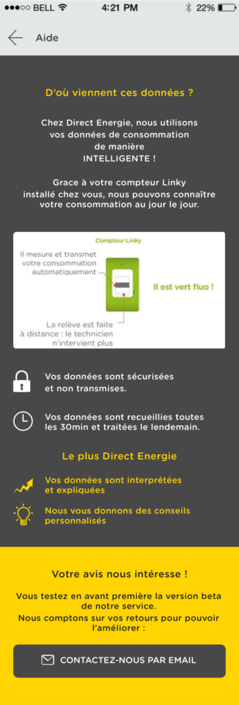 page application mobile Direct Energie
