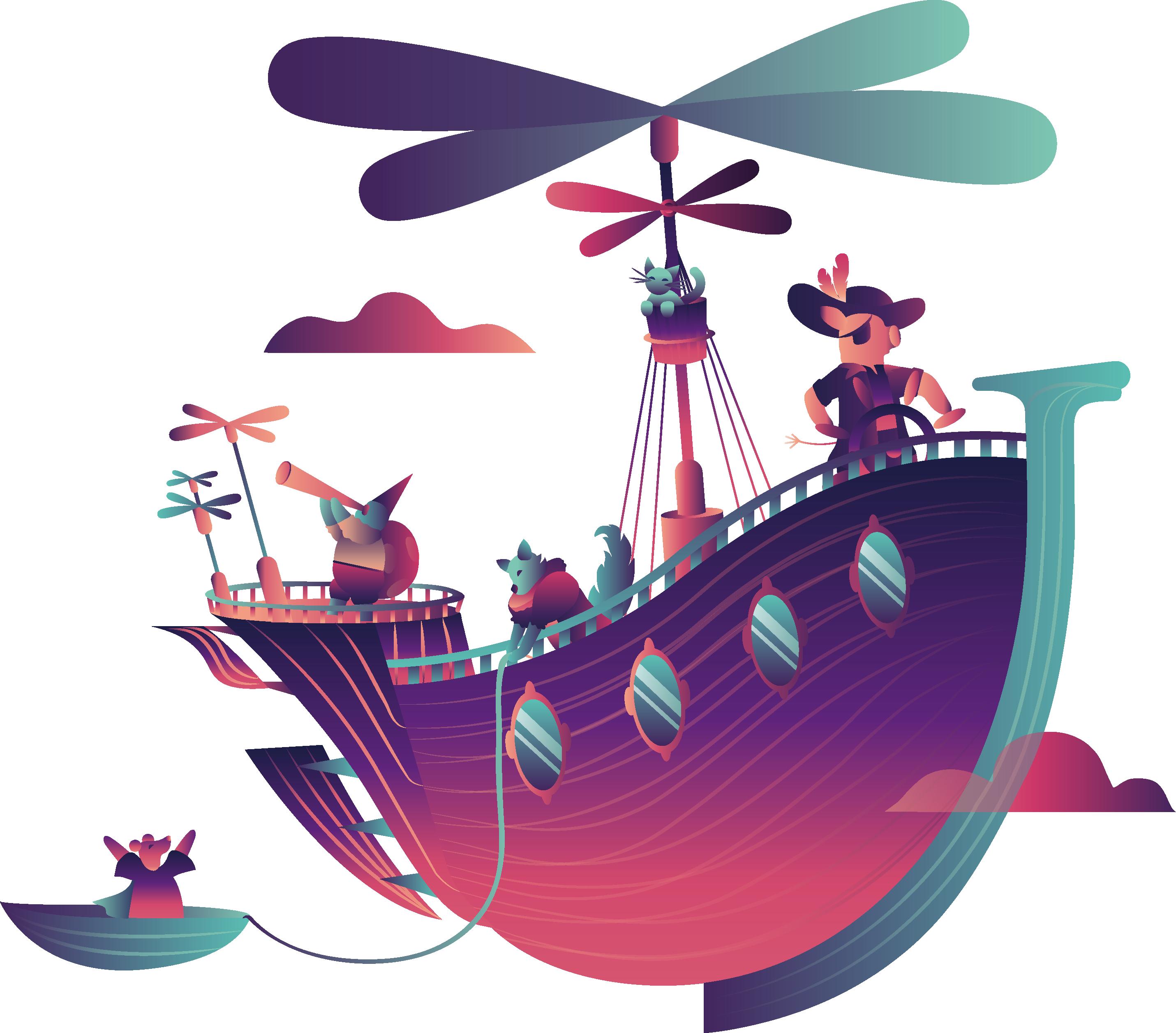des personnages sont dans un bateau qui représente la collaboration