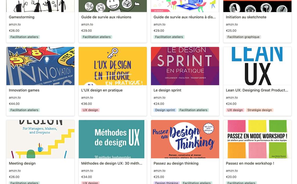 liste de livres UX, design, facilitation ateliers...