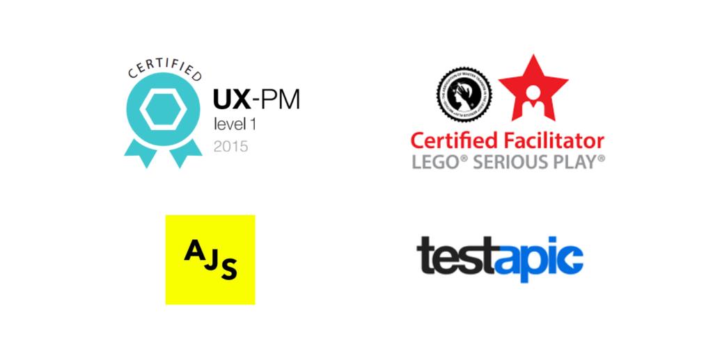 certifications UX-PM, LEGO SERIOUS PLAY, Design Sprint AJ&Smart et Testapic